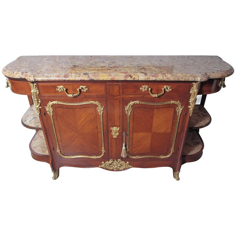 19th Century Fine Louis XV Marble-Top Buffet