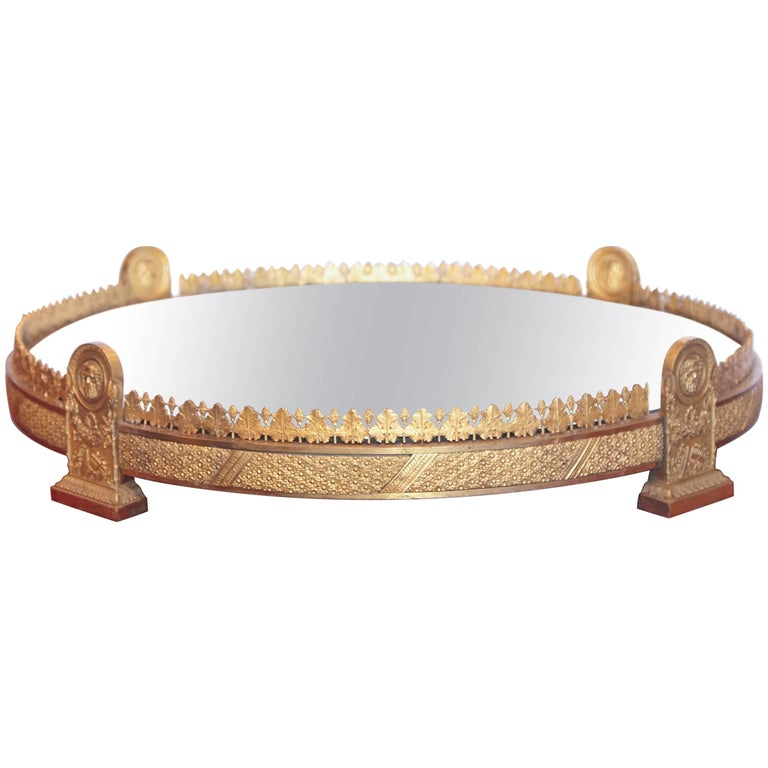Period Empire Gilt Bronze Rare Mirrored Plateau For Sale