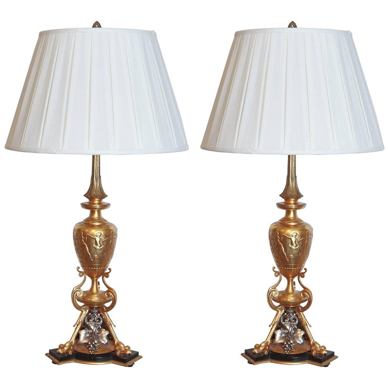 Pair of 19th Century Classical Urn Shaped Lamps with Silver and Bronze Doré