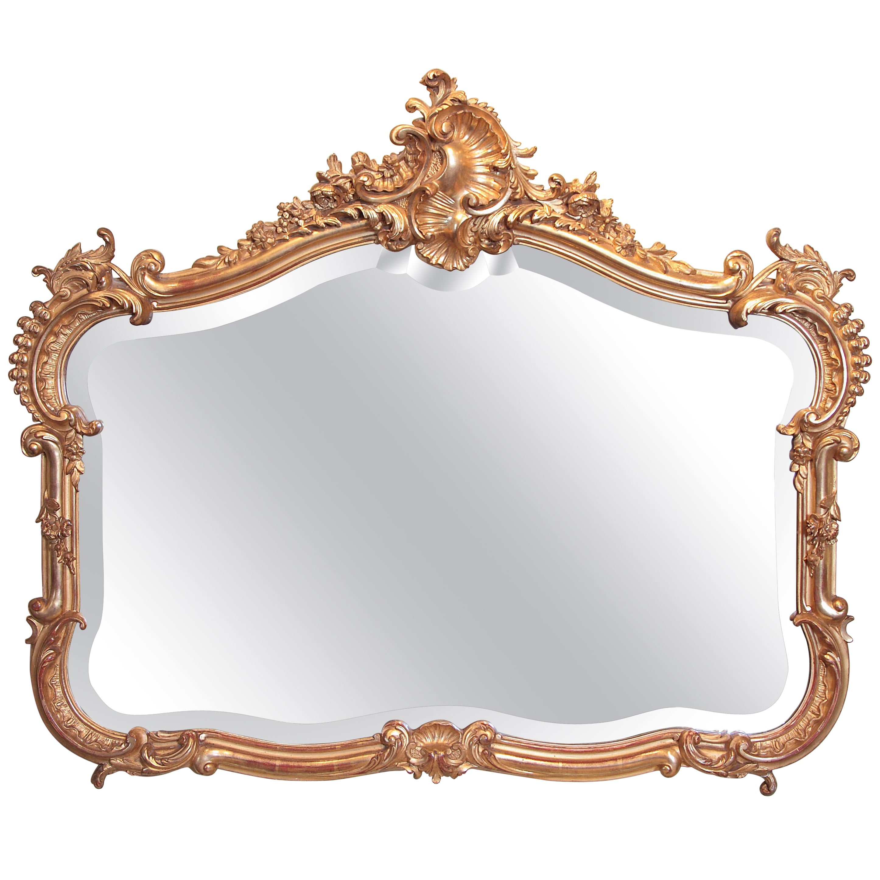 19th Century French Louis XV Carved and Gilt Horizontal Mirror