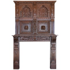 17th Century Baroque Carved Fireplace Surround and Over-Mantel