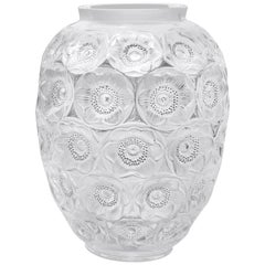 LALIQUE Anemone Grand Vase Clear and Black Enamel Numbered Edition