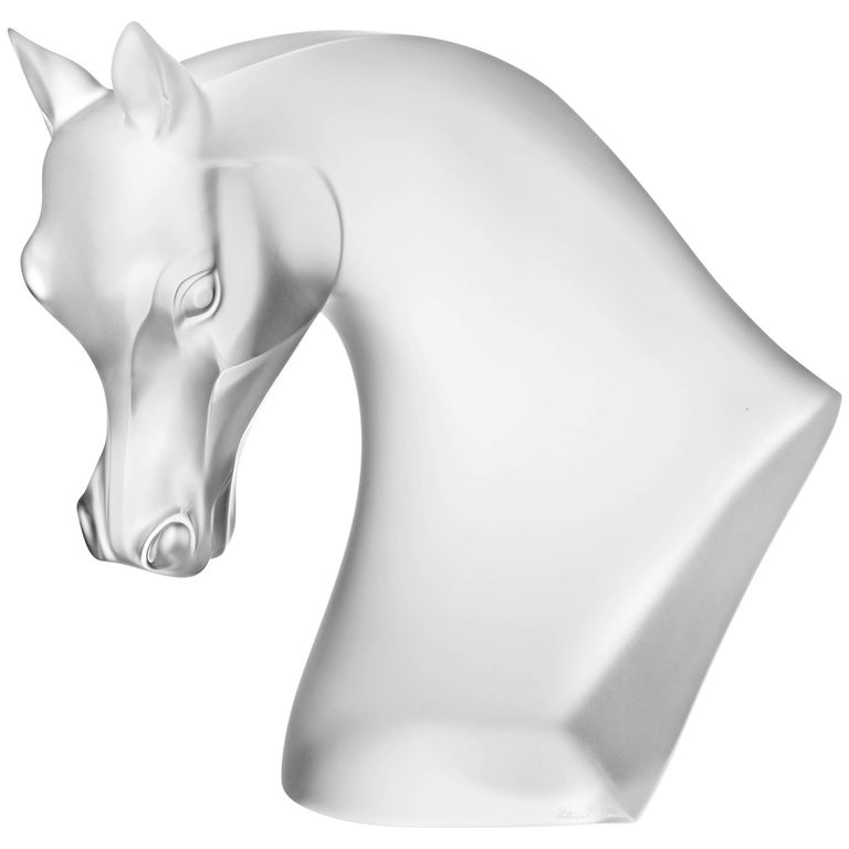 Lalique Horse's Head Sculpture Clear Satin Crystal