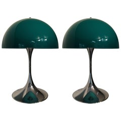 """Pair of Verner Panton """"Panthella"""" First Edition in Green and Chrome"""