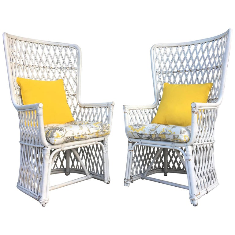 Pair of Vintage Wicker High Back Throne Chairs