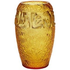 LALIQUE Angelique Vase Amber Cystal and Gold Enamel Limited ED 99x