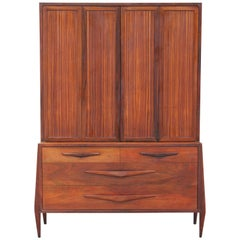 Modern Rosewood Danish / Italian Hutch Cabinet