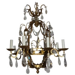 Wonderful French Bagues Beaded Lattice Rock Crystal Gold Gilt Pagoda Chandelier
