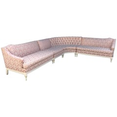 Four Piece Hollywood Regency Pink Damask Tufted Sectional Sofa