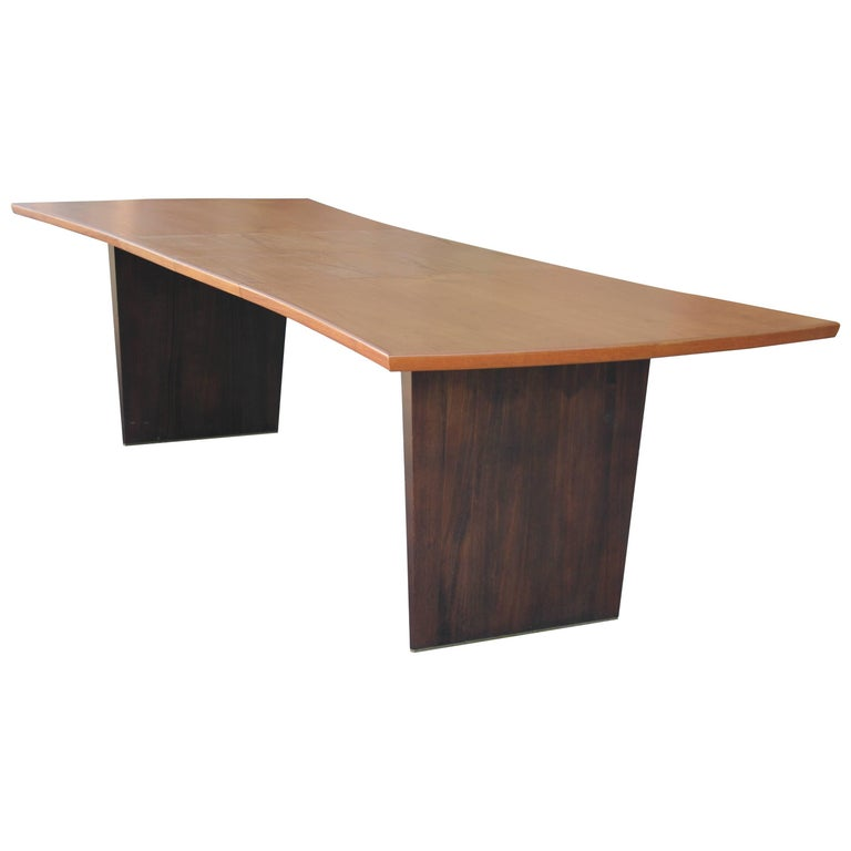 Modern Harvey Probber Rosewood and Teak Two-Leaf Bow Tie Dining Table