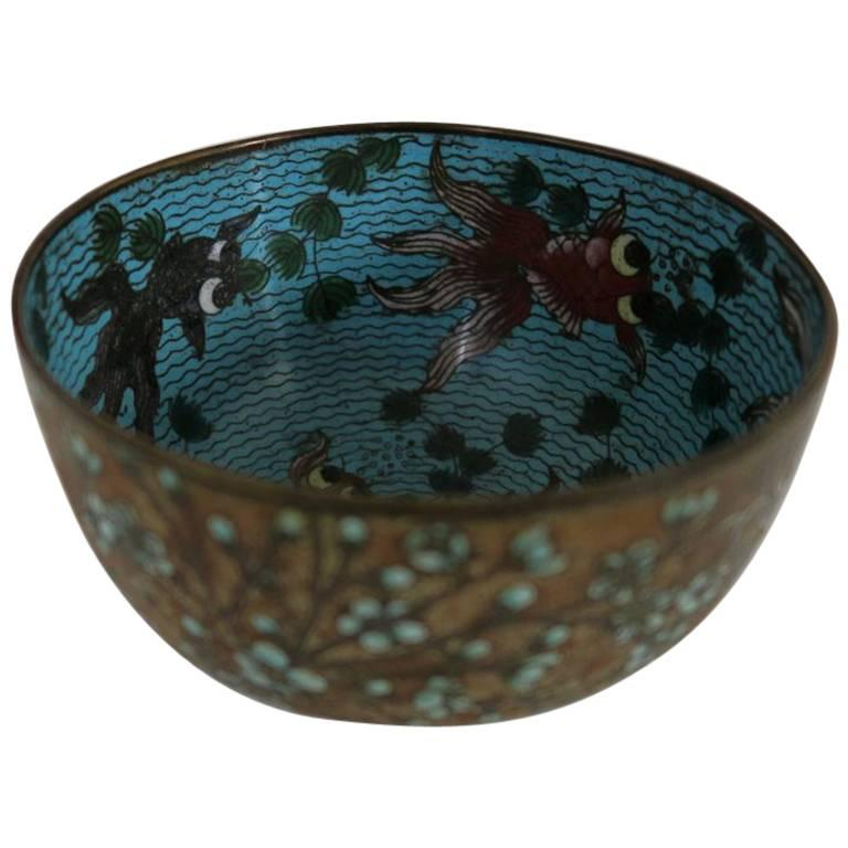 19th century chinese small fish cloisonn bowl for sale at for Small fish bowl