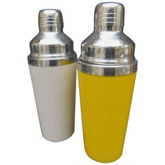 Vintage Modern Cocktail Shakers ;One White and One Yellow both with Chrome