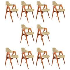 Set of Ten 1960s Danish Kai Kristiansen Teak Compass Chairs