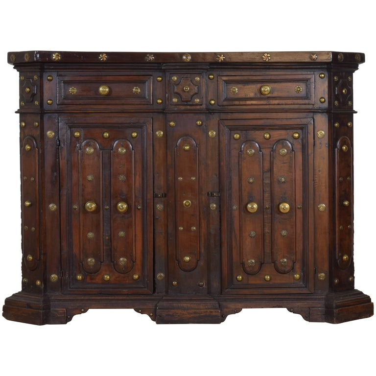 Italian, Bologna, Baroque Walnut and Brass Mounted Scantonata Credenza