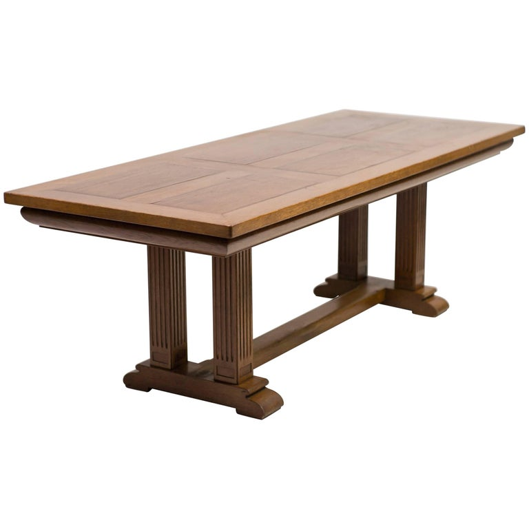 Dutch 1920s Architectural Oak Dining Table