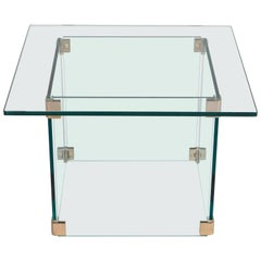 Sculptural Pace Collection Glass and Chrome Side Table