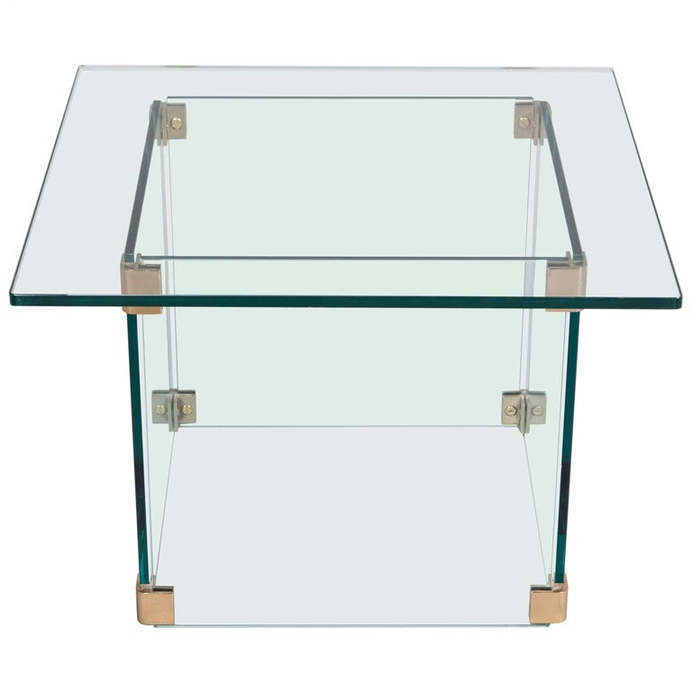 Sculptural Pace Collection Glass and Chrome Side Table For Sale