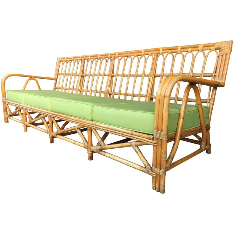 Large Organic Modern Rattan Bamboo Sofa For Sale
