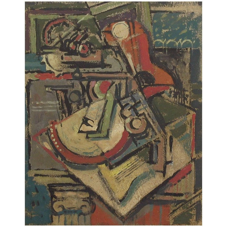Painting Still Life/Cubist Circle of Emil Filla, 1882-1953 Gouche on Paper