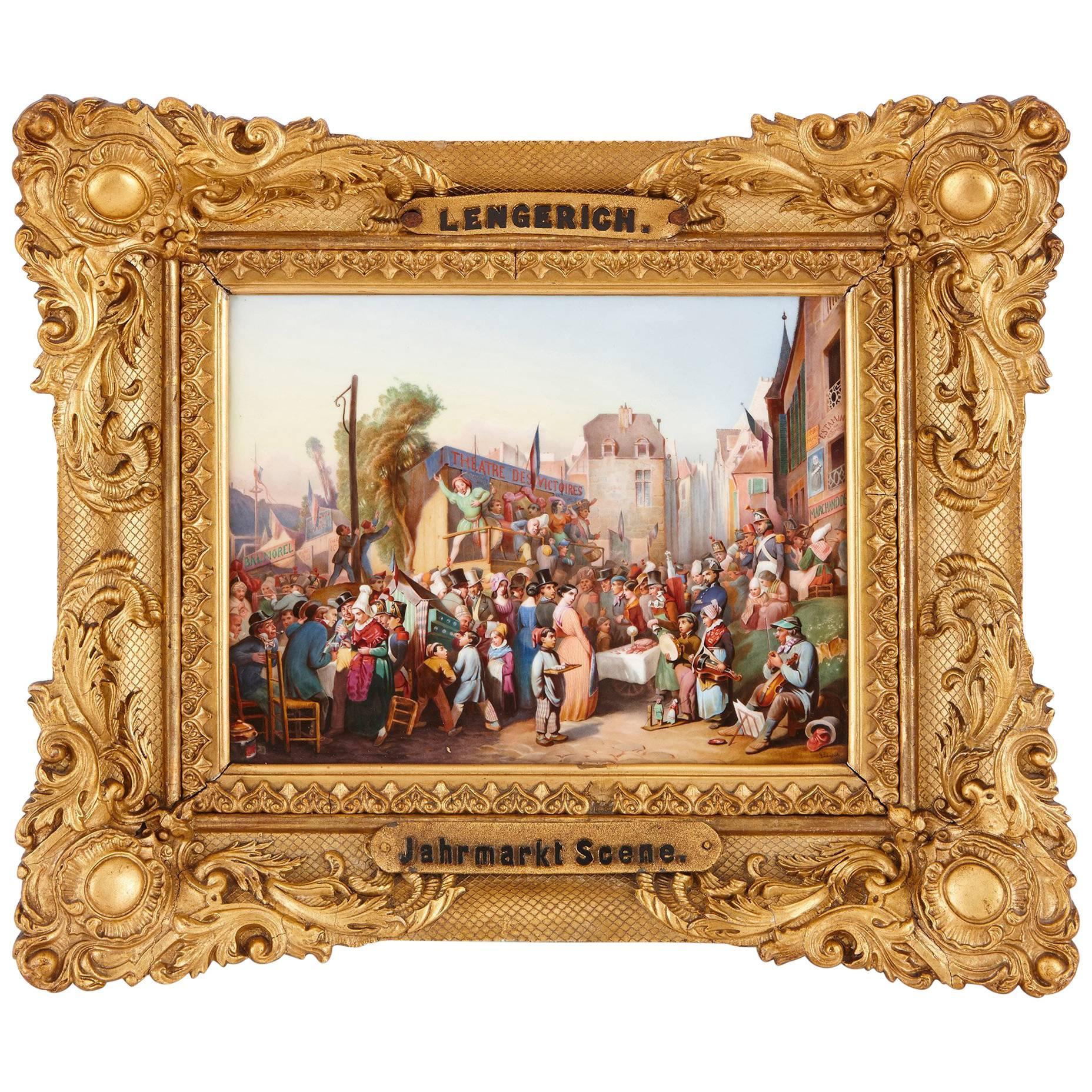 Porcelain Plaque of a 19th Century German Market by KPM
