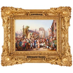 Porcelain Plaque of a 19th Century German Market by KPM