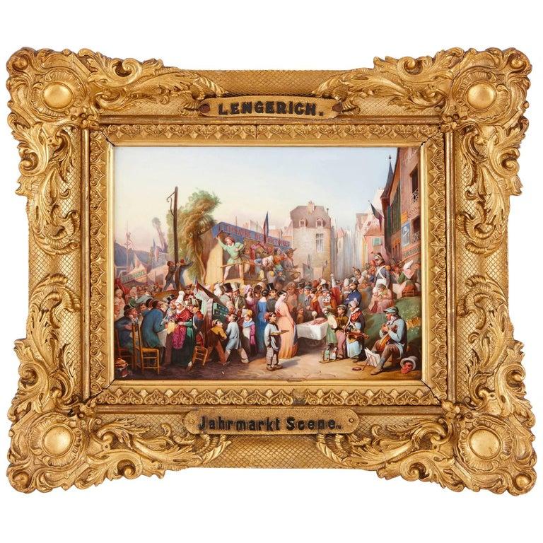 Porcelain Plaque of a 19th Century German Market by KPM For Sale