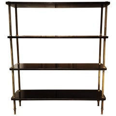 French Black Lacquer and Brass Etagere