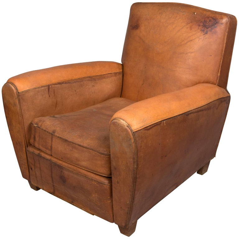1970s Beautifully Distressed Beat-Up Leather Chair For Sale