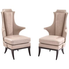 Sculptural Pair of Leather and Ebonized Mahogany Lounge Chairs