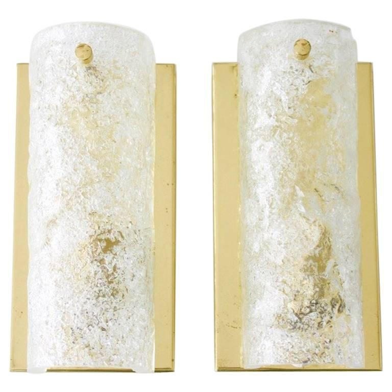Pair of Hillebrand Wall Sconces in Brass and Glass, 1960s