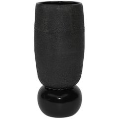 Contemporary Large Dew Vase #4 Black Ceramic and Glaze, Handmade