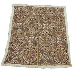 Tapa Decorative Artisanal Brown and Orange Paper Art
