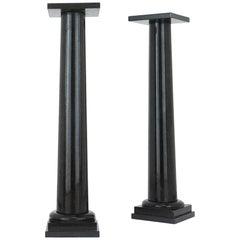 Pair of Black Italian Granite Pedestals