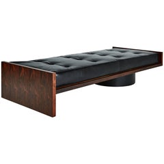Joaquim Tenreiro Jacaranda and Leather Daybed or Gallery Bench, circa 1960