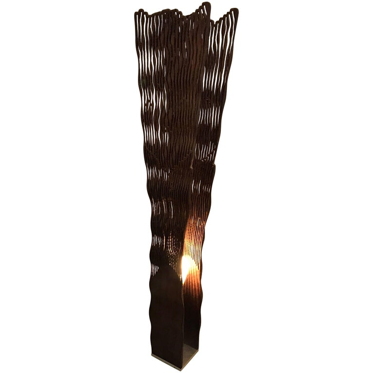 Floor Lamp by Pyka-Leone, Abstract Organic Carved Olive Wood, Italy For Sale