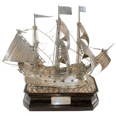 "Antique Silver Ship ""S.S San Claudio"" by William Comyns & Sons Ltd, London, 1927"