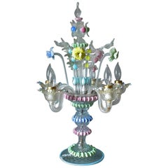 Handblown Murano Glass Candelabra Multicolored, circa 1940