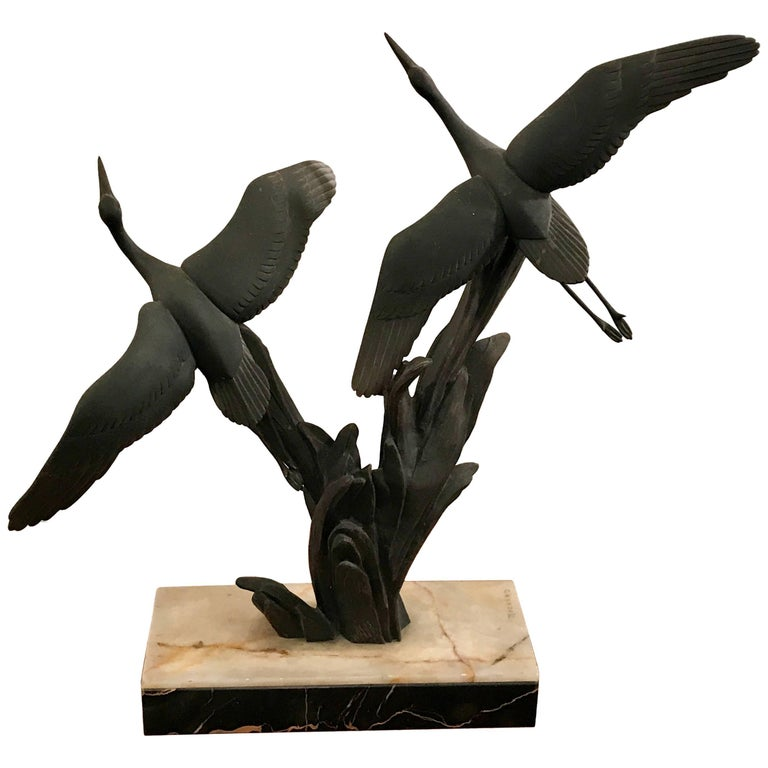 Art Deco Bronze Birds in Flight Sculpture by Irenee Rochard, France For Sale