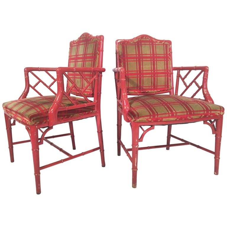 Red Faux Bamboo Chippendale Dining Arm Chairs