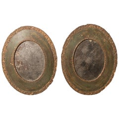 Pair of 19th-Century Antique Oval Mirrors