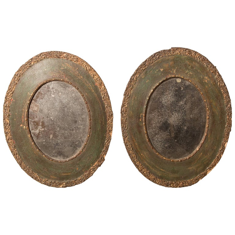 Pair of 19th-Century Antique Oval Mirrors For Sale