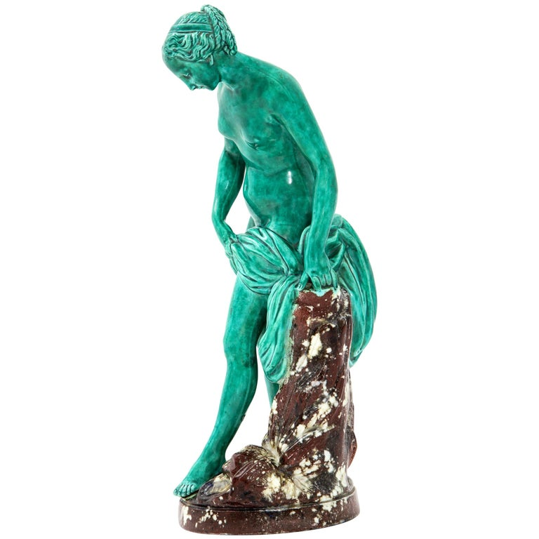 French Majolica Sculpture of Diana circa 19th Century For Sale