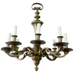 1940s French Bronze Chandelier with Eight Arms