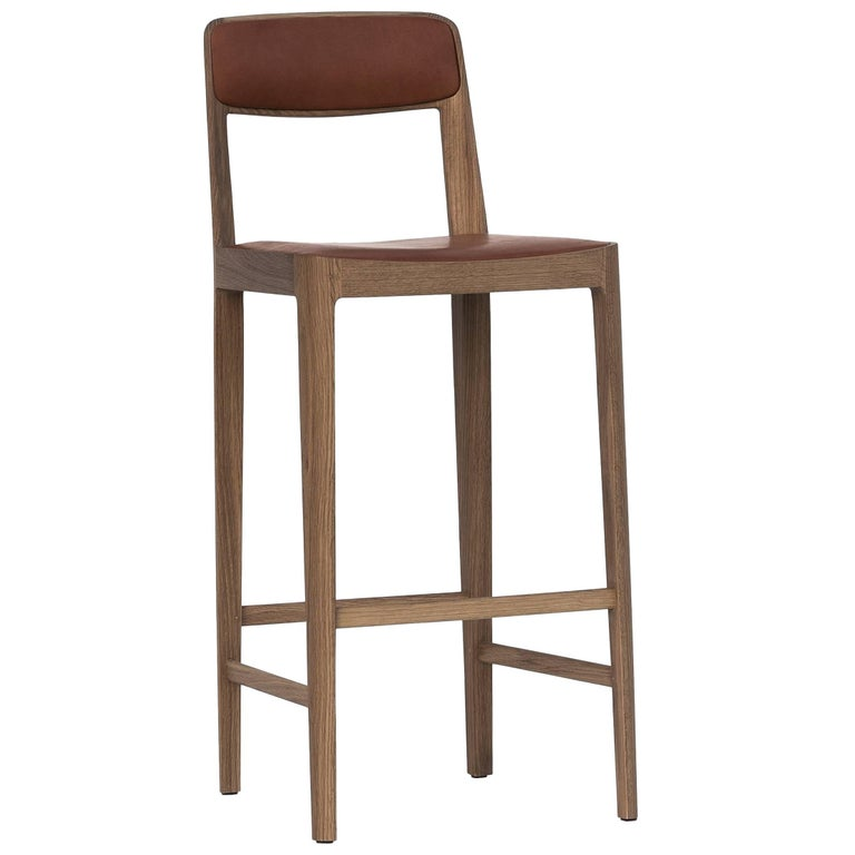 Linea Barstool, White Oak with Leather Upholstered Seat and Backrest For Sale