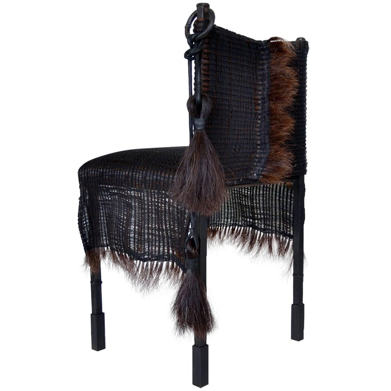 Handmade Horsehair And Iron Side Chair Designed By