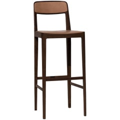 Linea Barstool, Walnut with Leather Upholstered Seat and Backrest