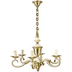 1940s French Brass and Enamel Chandelier