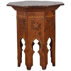 Continental Octagonal Folding Table, Various Woods, Pewter Inlay