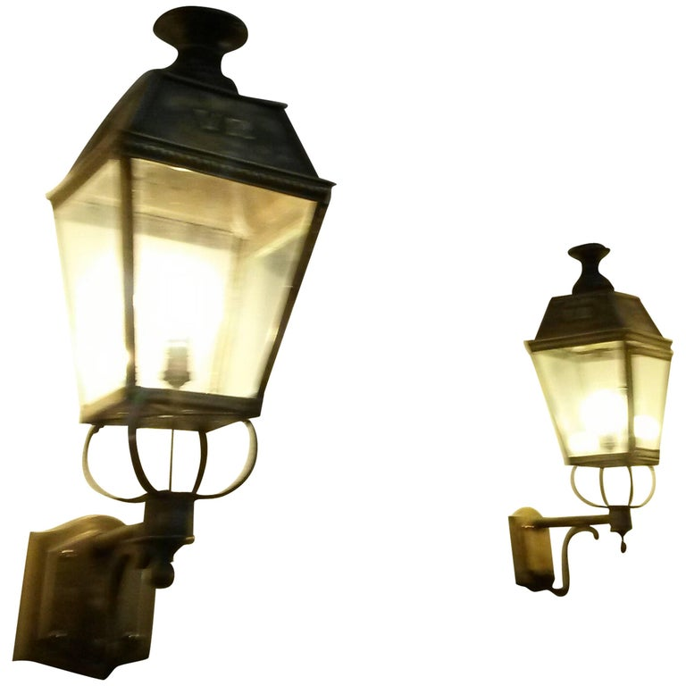 Pair of large 19th Century English Lanterns style Wall Lights Sconces