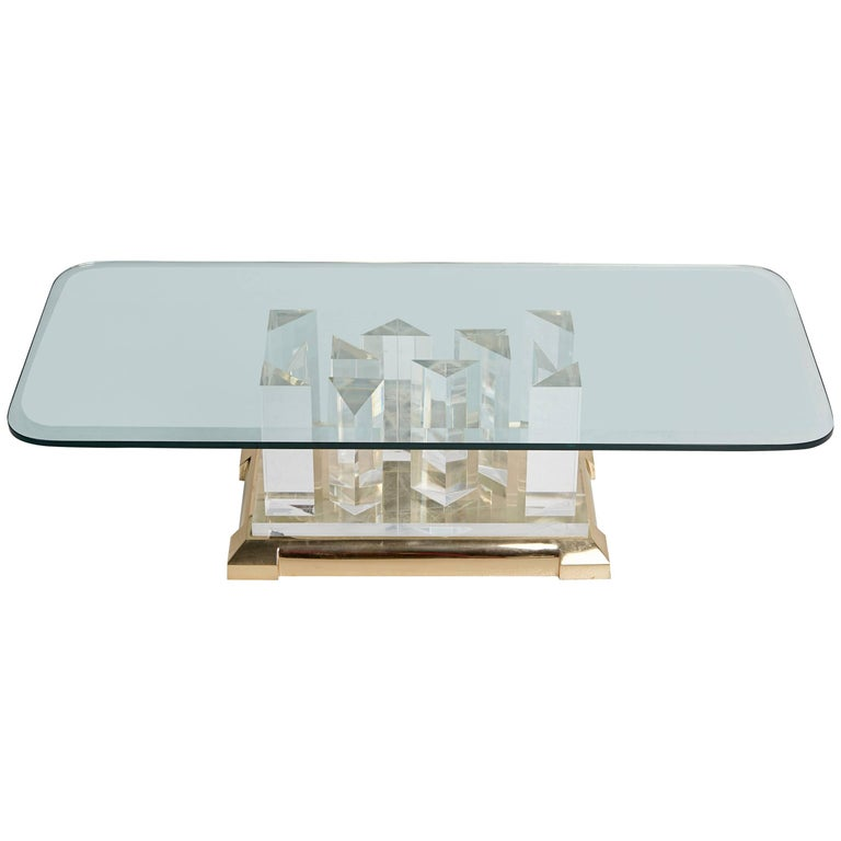 """Jeffrey Bigelow """"Towers"""" Lucite Coffee Table, circa 1970"""